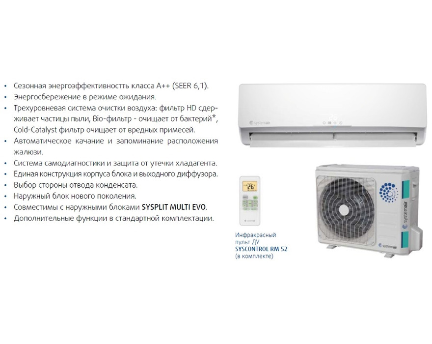 Сплит-система Systemair SYSPLIT WALL SMART 18 EVO HP Q inverter